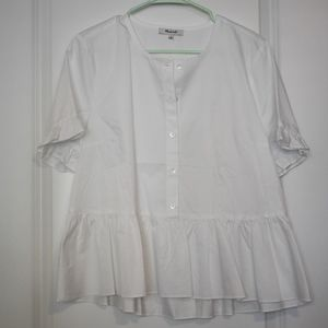 NWT Madewell White 1/2 Button Down Blouse, L